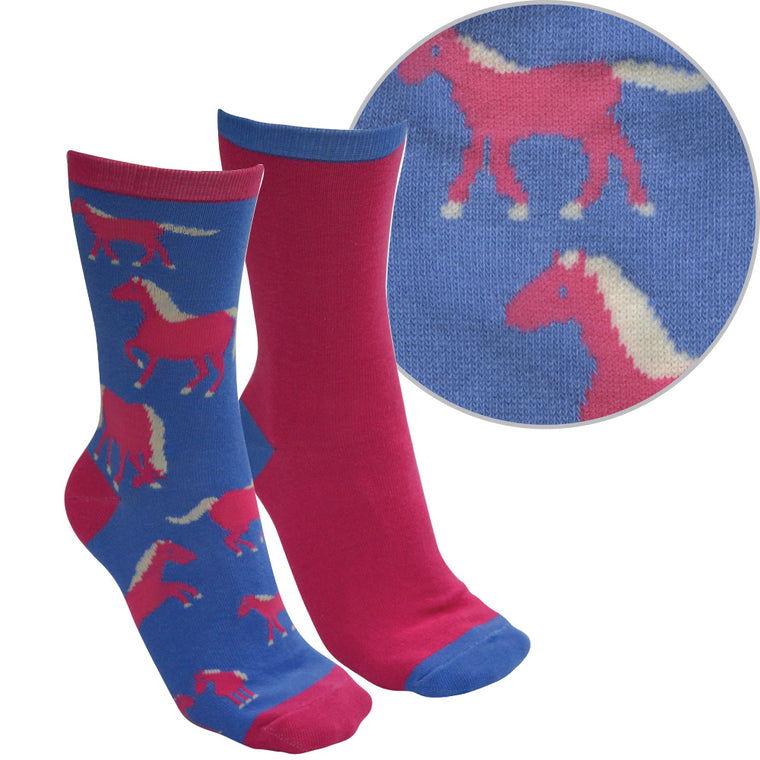 Thomas Cook Farmyard Socks Twin Pack Blue/Bright Pink ( Horse )