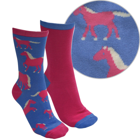 Thomas Cook Kids Farmyard Socks Twin Pack Blue/Bright Pink ( Horse )