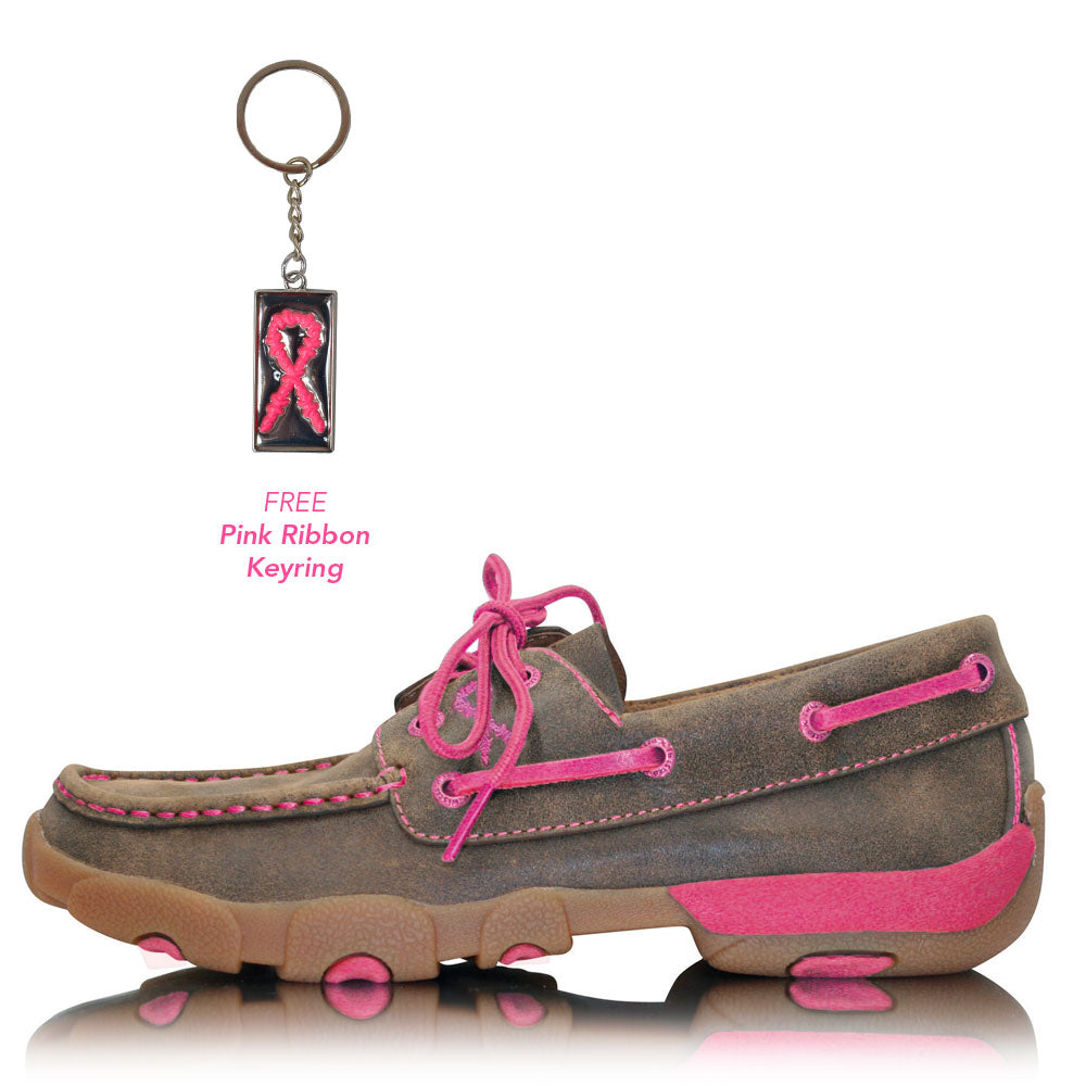 Twisted X Womens Pink Ribbon Mocs Lace Up Bomber Neon Pink