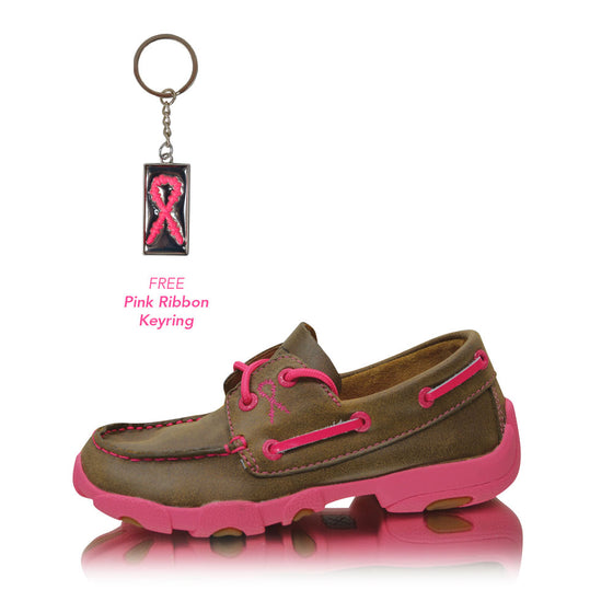 Twisted X Cowkids Pink Ribbon Mocs Lace Up Bomber/Neon Pink