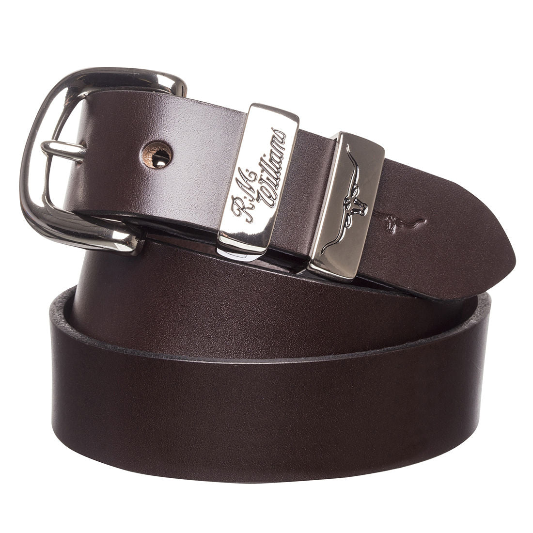 "R.M.Williams Chestnut 1 1/4"" Polished Nickel 3 Peice Solid Hide Belt"