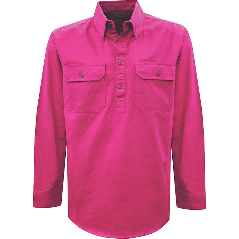 Thomas Cook Womens Heavy Drill 1/2 Plkt L/S 2- Pocket Shirt Hot Pink