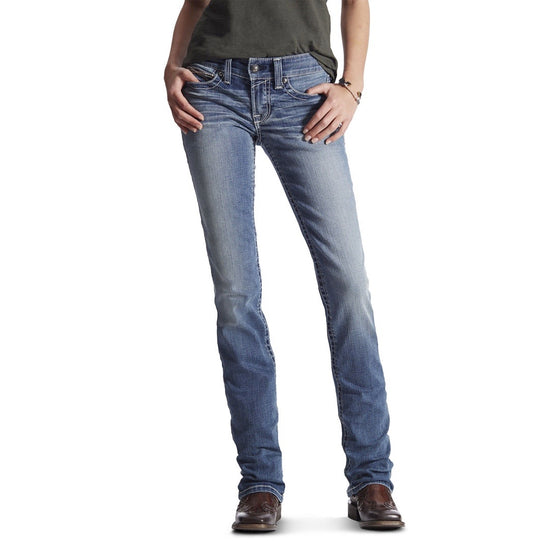 Ariat Womens R.E.A.L Mid Rise Straight Simple Stitch Jean Icon Rainstorm