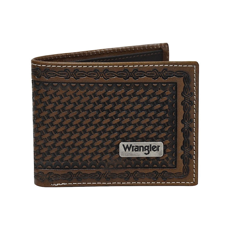 Wrangler Mens Trevor Wallet Dark Tan/Coffee