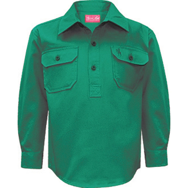 Thomas Cook Kids Heavy Cotton Drill 1/2 Plket Shirt Green