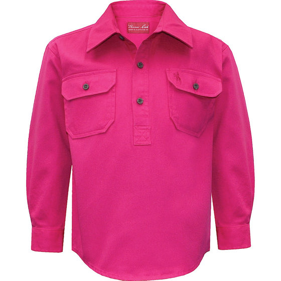 Thomas Cook Kids Heavy Cotton Drill 1/2 Plkt Shirt Hot Pink