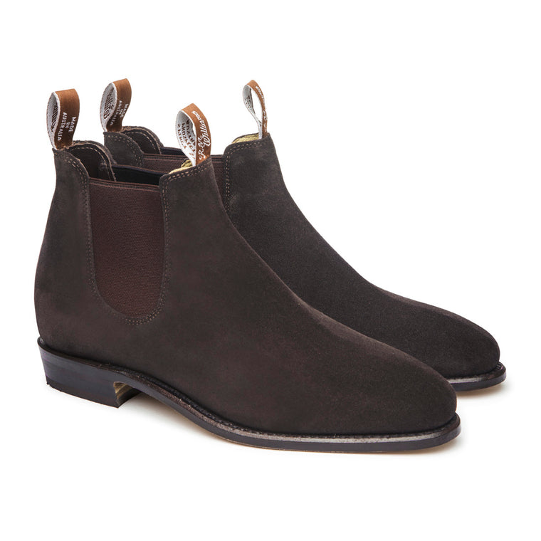 Womens Suede Adelaide Boots Chocolate