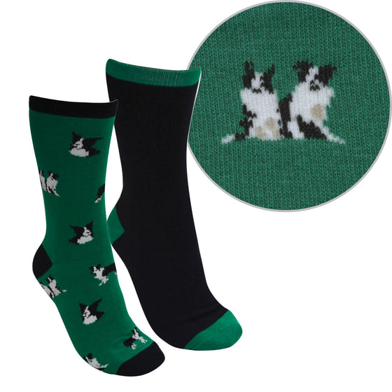 Thomas Cook Kids Farmyard Socks Twin Pack Green/Black ( Boarder Collie )