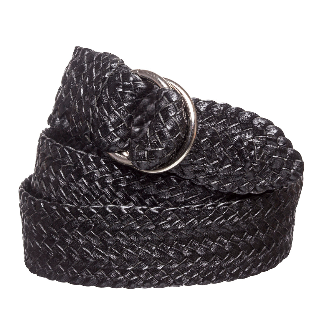 "R.M.Williams Black Plaited Kangaroo leather 1-1/4"" Nickel O Ring Belt"