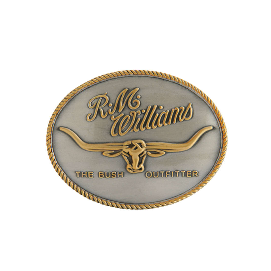 R.M.Williams Silver Gold Logo Buckle