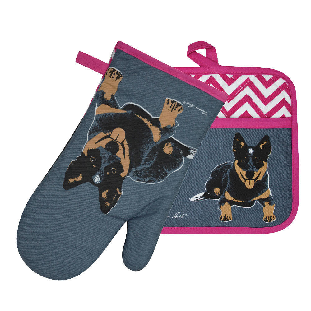 Thomas Cook Oven Mitt & Pot Holder Set Blue Heeler