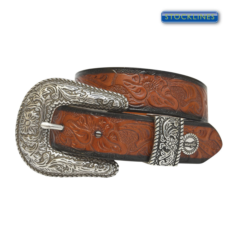Kids Unisex Tooled Belt, Brown - XCP3903BEL