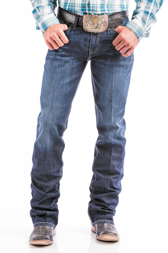 Cinch Mens Ian Stretch Slim Fit  Boot Cut Jeans Dark Stonewash