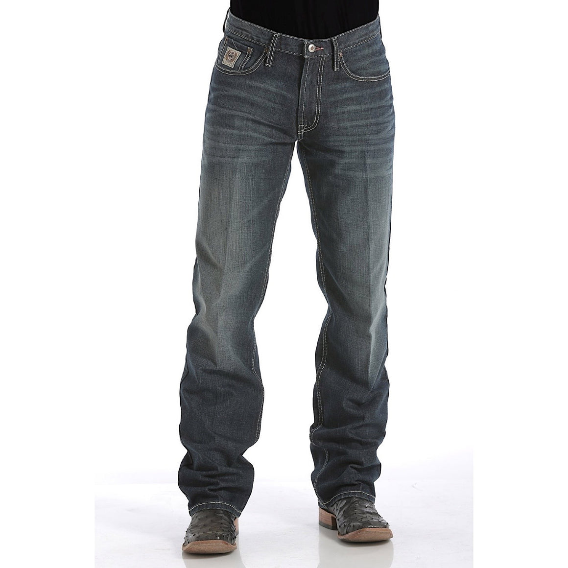 Cinch Mens White Label Mid Rise Relaxed Fit Straight Leg Jean Dark Stonewash