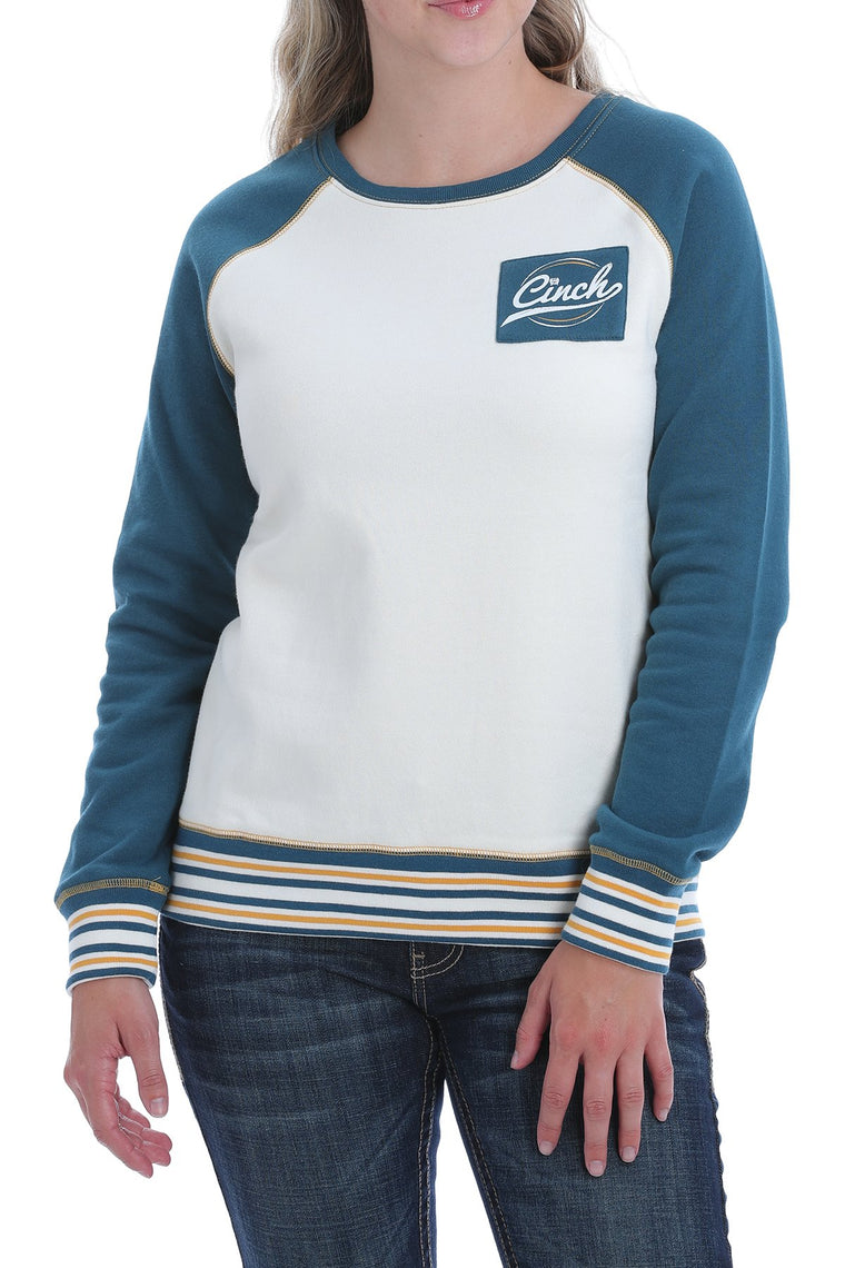 Cinch Womens Pullover White & Blue