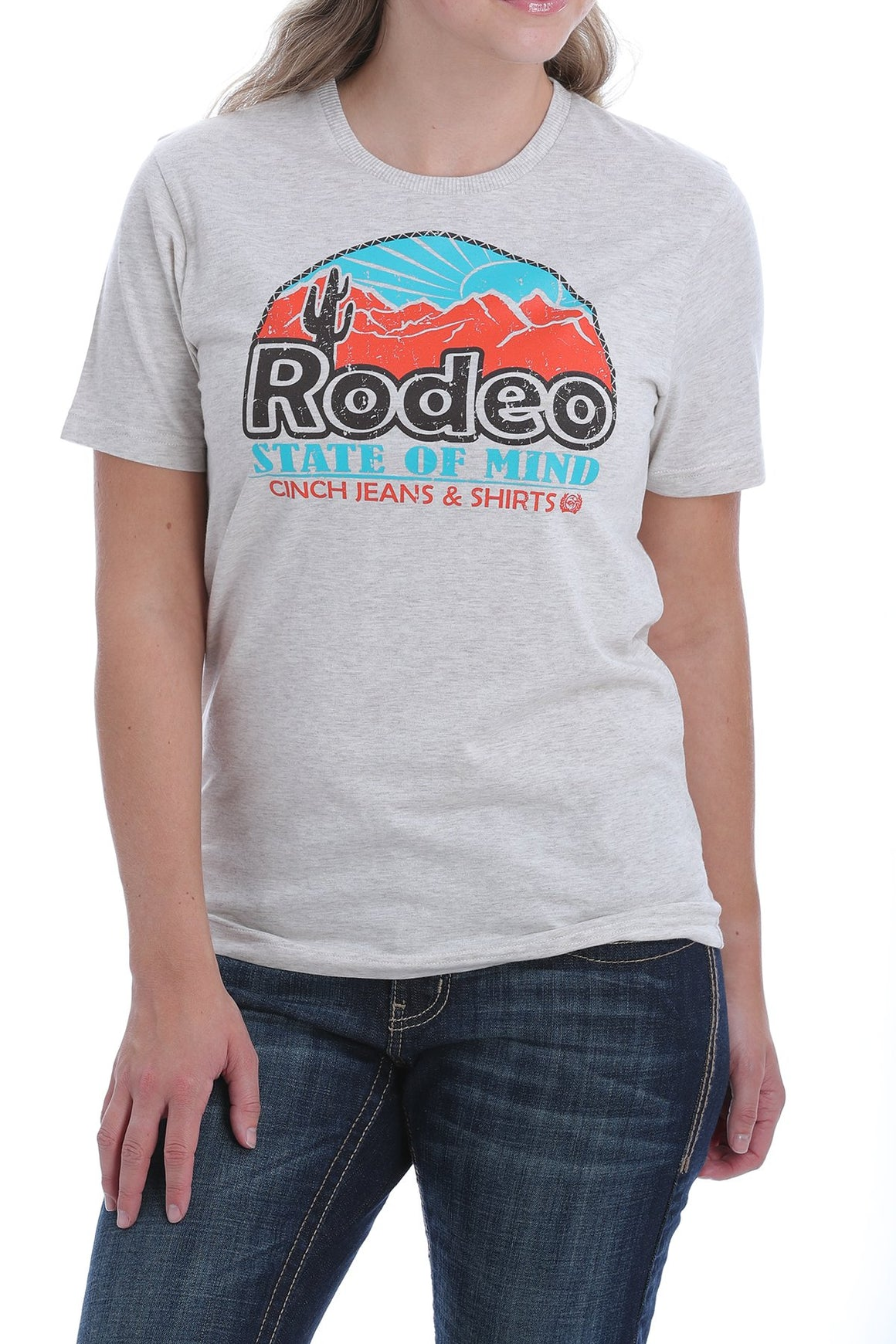 Cinch Womens Rodeo State Of Mind Logo Tee Heather Cream