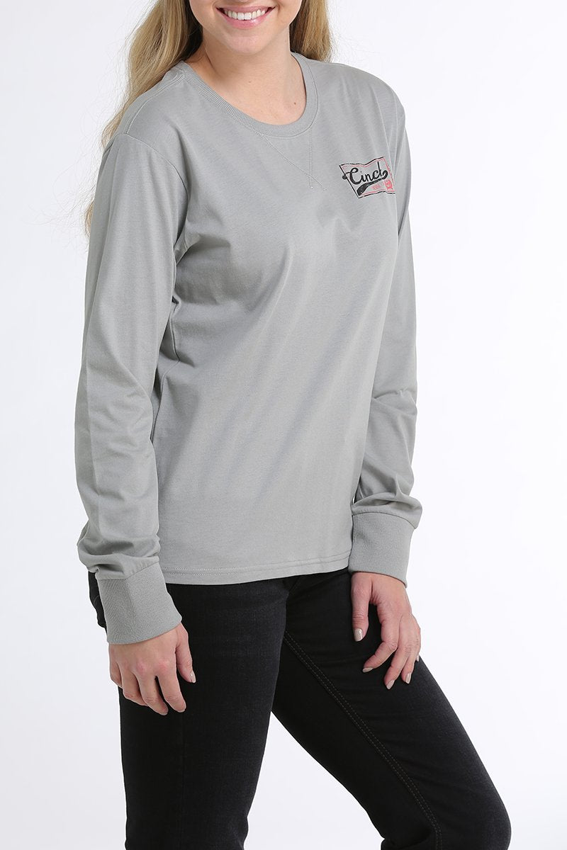 Cinch Womens Long Sleeve Logo Tee Limestone
