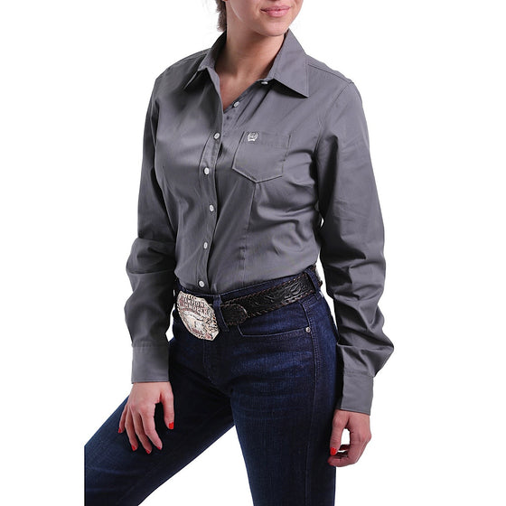 Cinch Womens Charcoal Solid Button Up Shirt