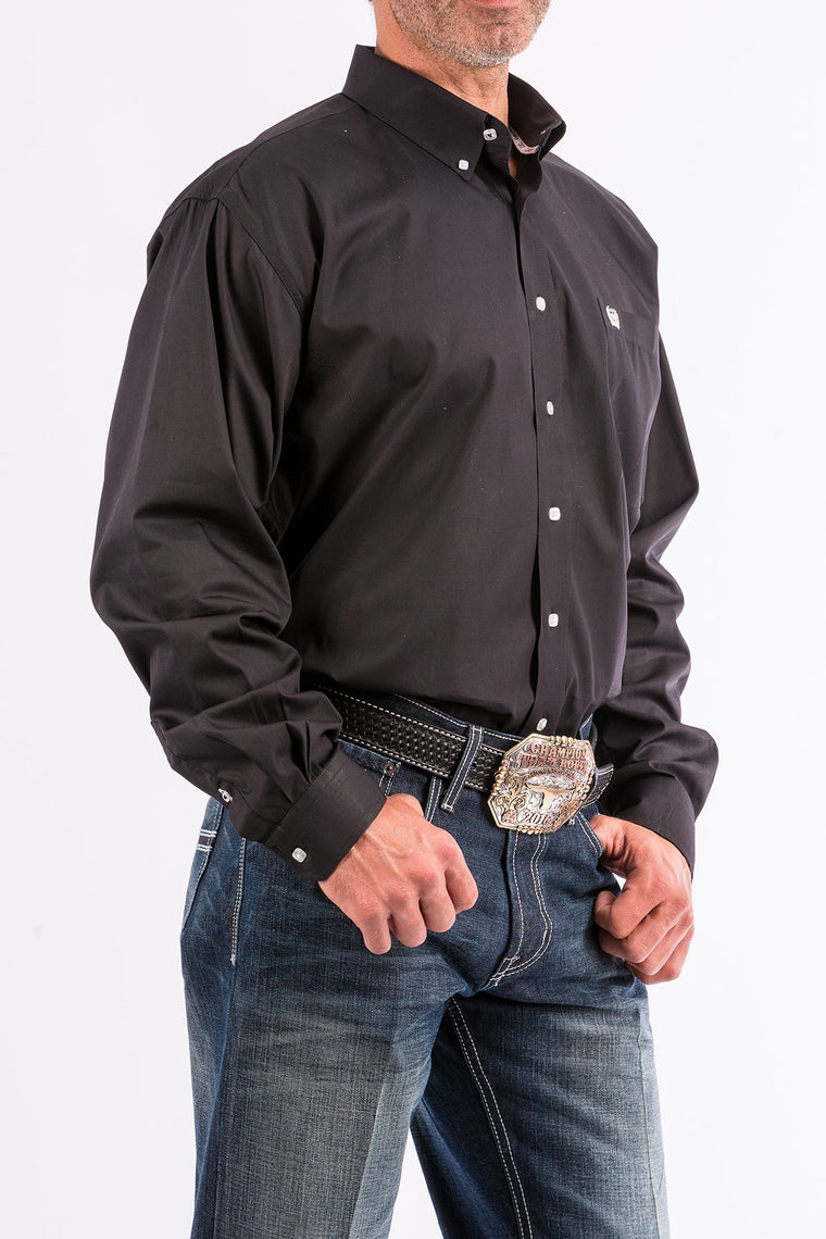 Cinch Solid Black Western Button Down Shirt