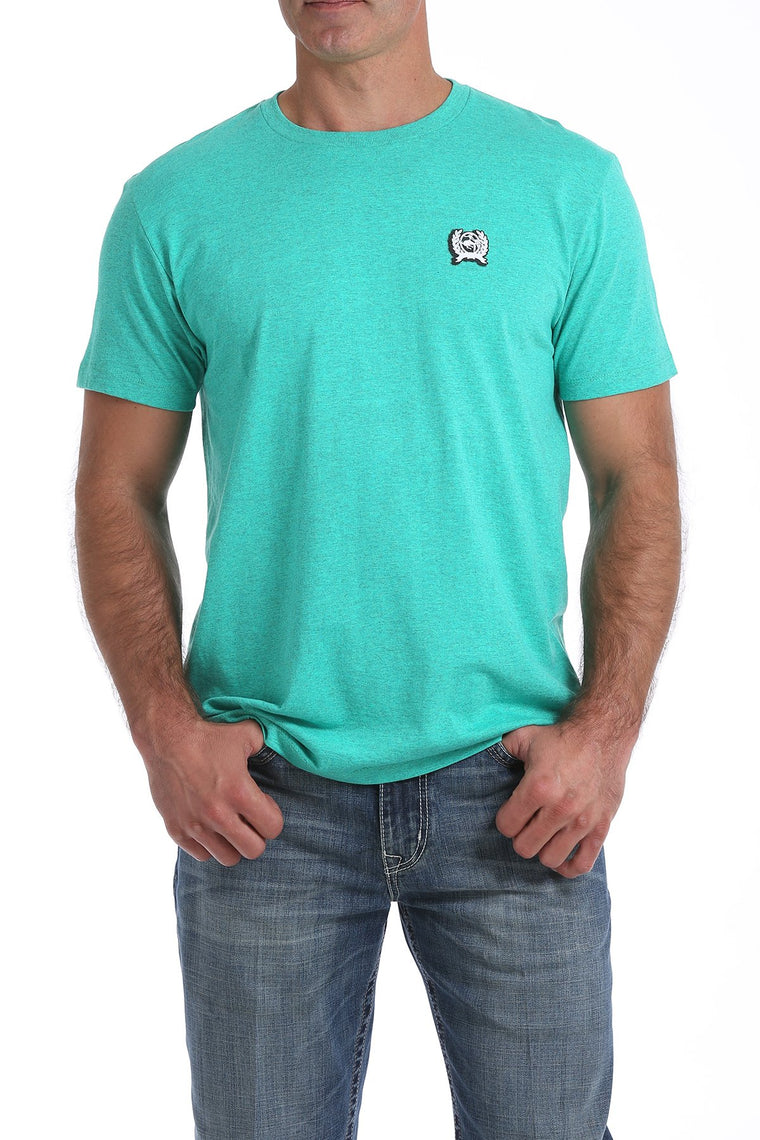 Cinch Mens Crew Neck Graphic Tee Heather Teal