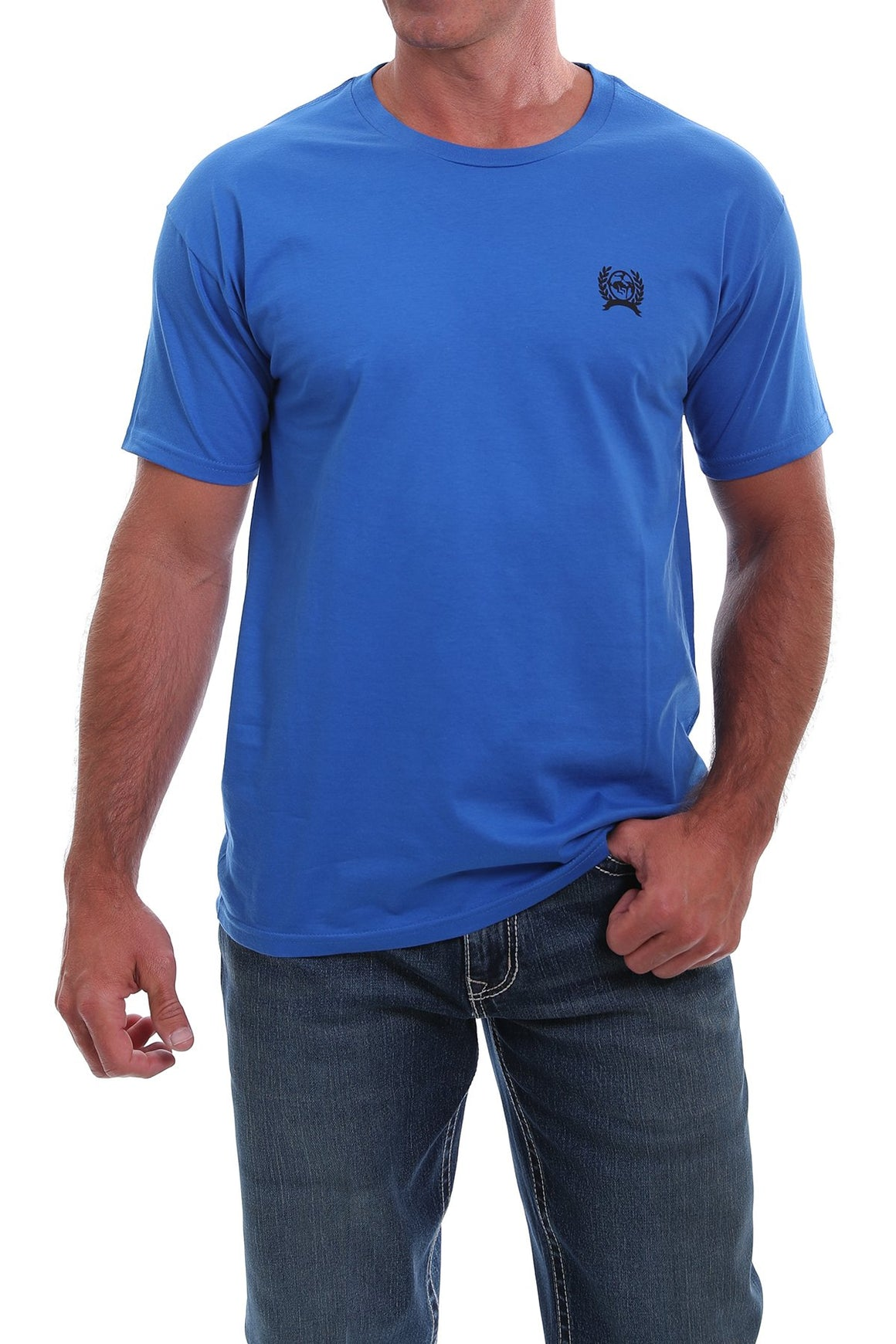 Cinch Mens Front and Back Logo Classic Crewneck Tee Royal Blue