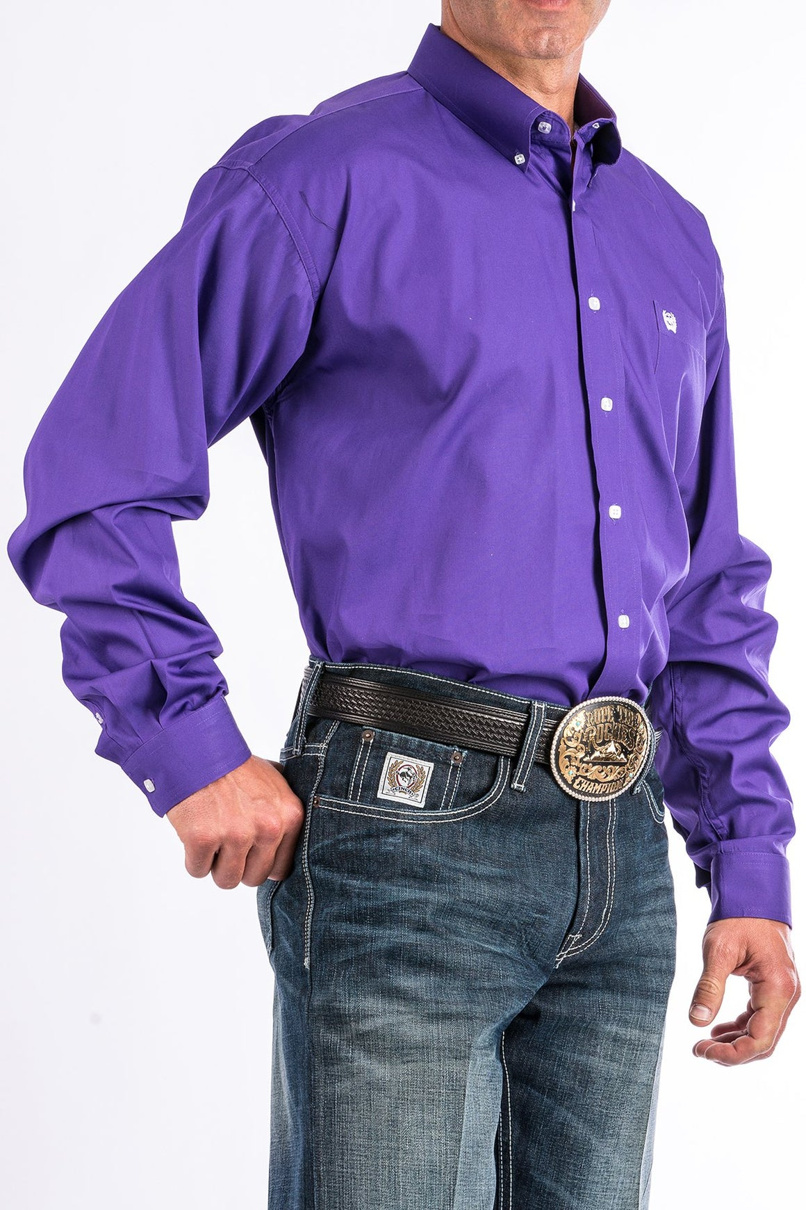 Cinch Solid Purple Western Button Down Shirt