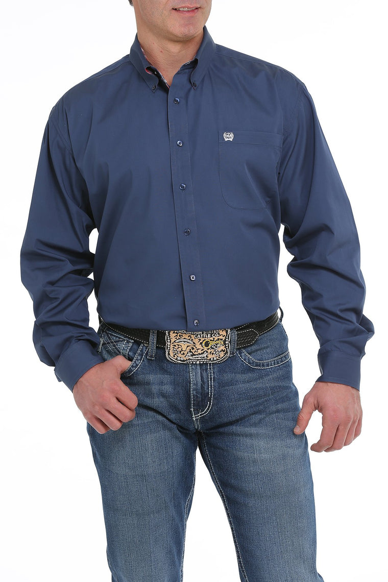 Cinch Blue Solid Western Button Down Shirt