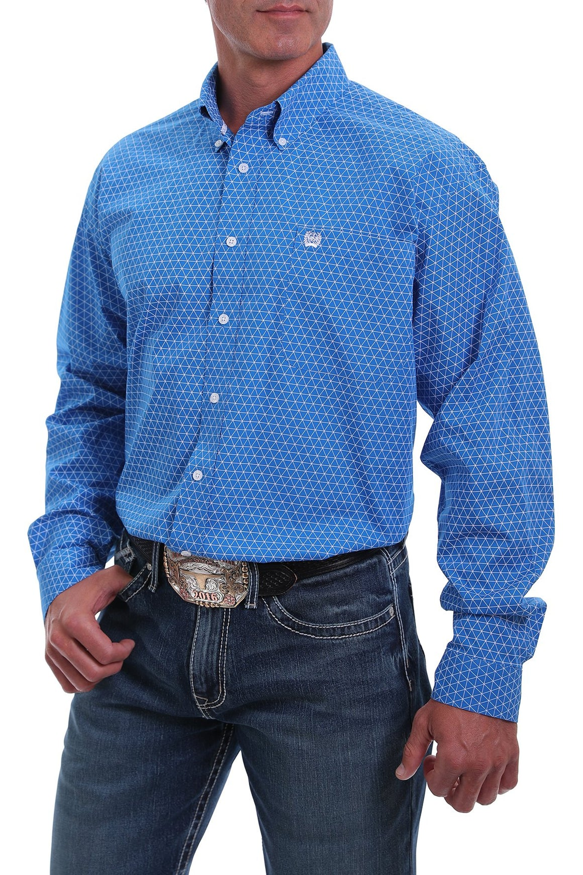 Cinch Mens Royal Blue/White Geometric Print Western Button-Down Shirt