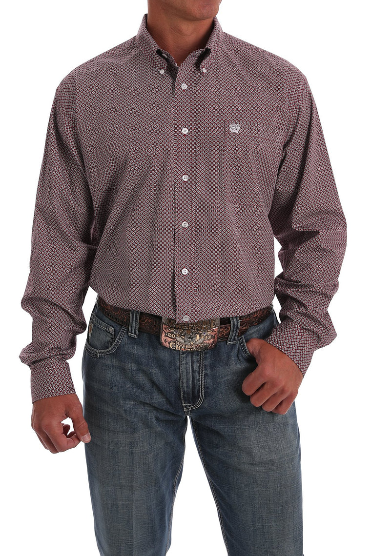 Cinch Mens Red & Black Geometric Print Western Button-Down Shirt