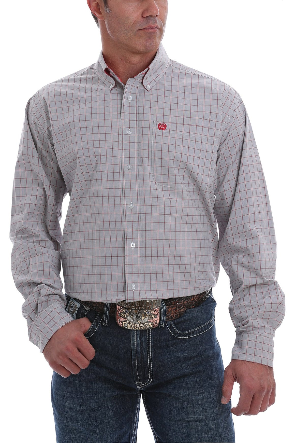 Cinch Mens Plaid Western Button-Down Shirt Gray