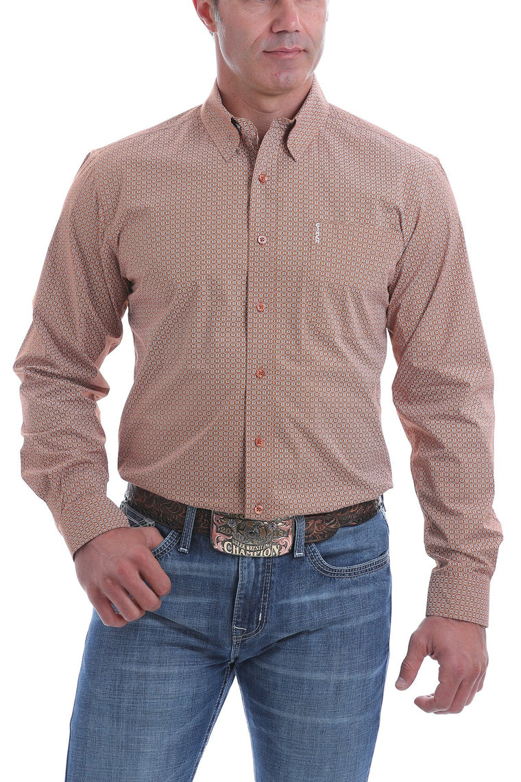 Cinch Mens Modern Fit Copper, Charcoal and Cream Micro Geometric Print Western Button-Down Shirt