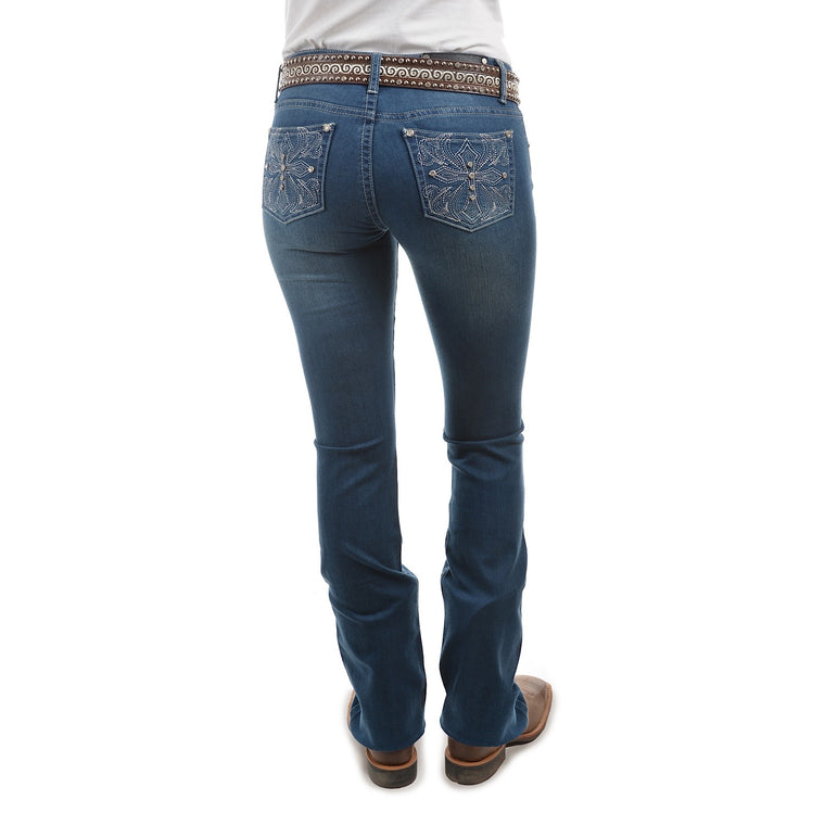 Pure Western Womens Bella Boot Cut Jean Indigo 34 Leg