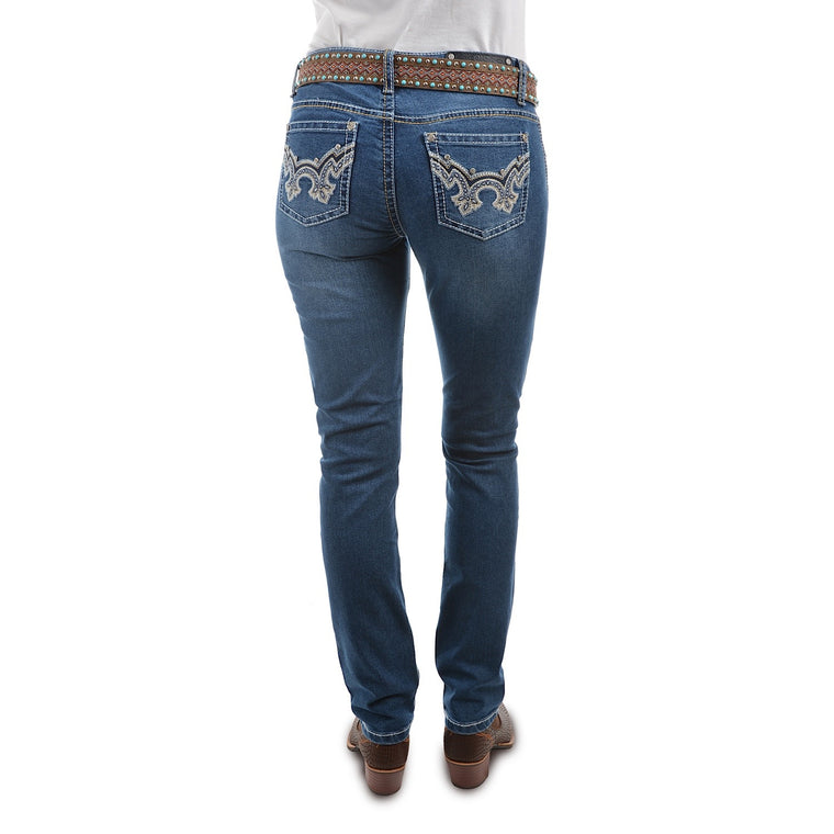 Pure Western Womens Ada Skinny Jean 32 Leg Morning Sky