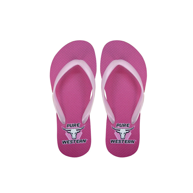 Pure Western Girls Candy Thongs Fuschia/Pearl