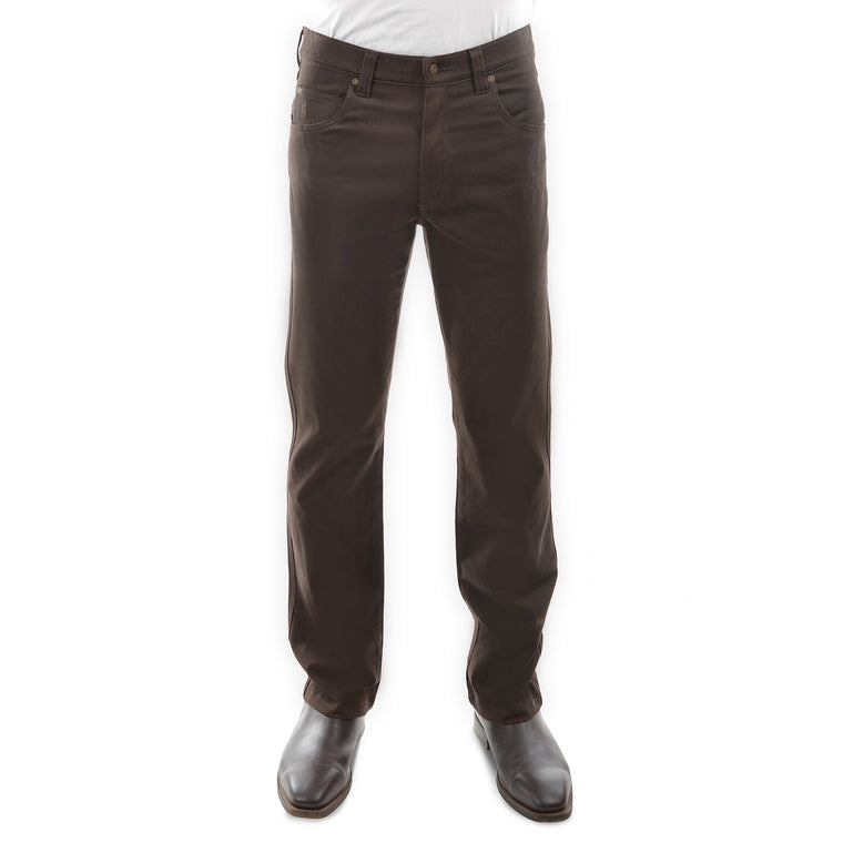 Mens Stretch Moleskin Regular Fit Rich Brown