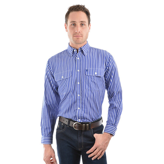 Thomas Cook Mens Classic Winton 2 Pocket Stripe Shirt Royal Blue