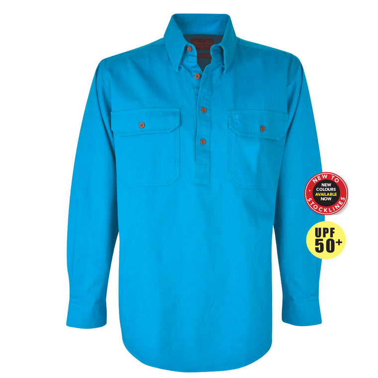 Thomas Cook Heavy Drill 1/2 Plkt L/S 2 Pocket Shirt Aqua