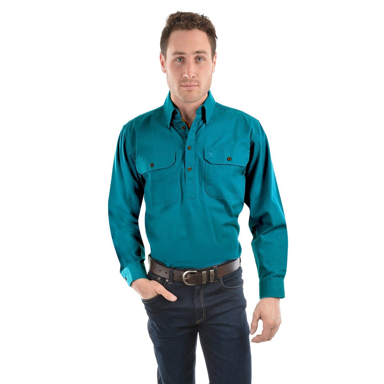 Thomas Cook Heavy Drill 1/2 Plkt L/S 2 Pocket Shirt Teal