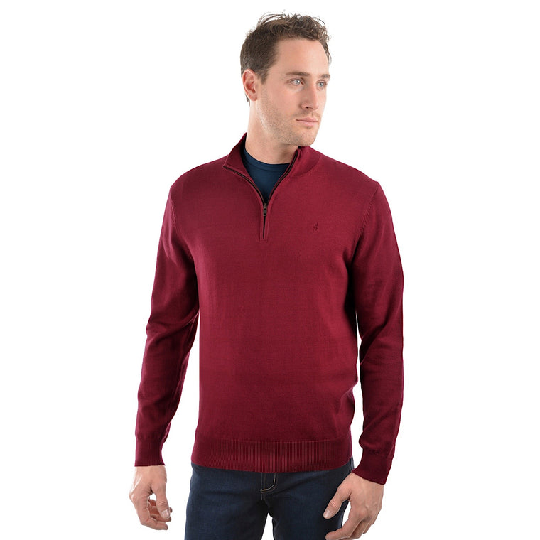 Thomas Cook Mens Louie 1/4 Zip Neck Jumper Red
