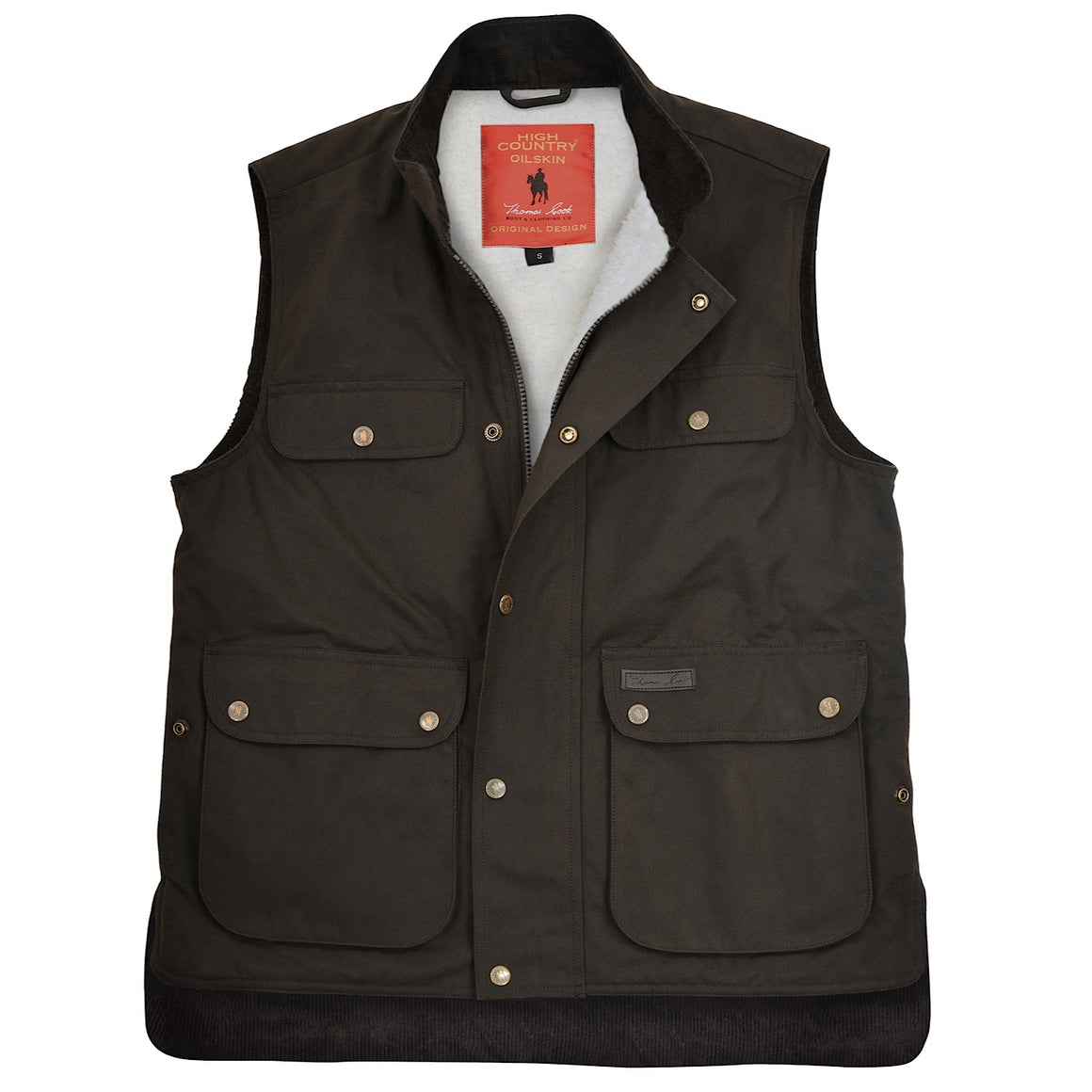 Thomas Cook Mens High Country Professional Oilskin Sherpa Vest Rustic Mulch