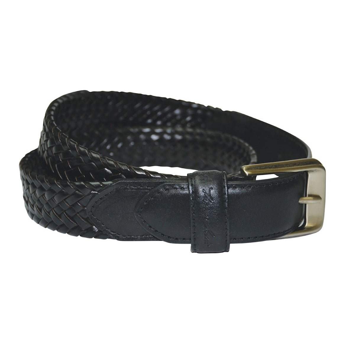 Thomas Cook Harry Leather Braided Belt Black