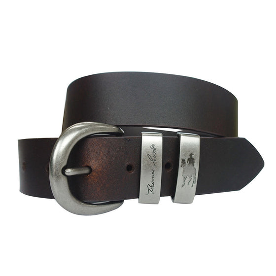 Thomas Cook Silver Twin Keeper Belt Chocolate