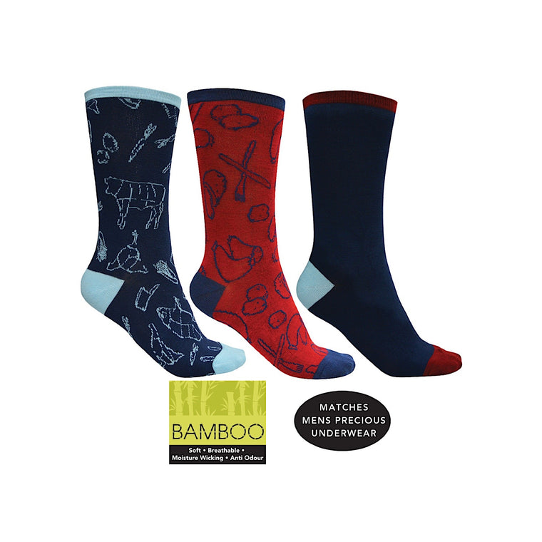 Thomas Cook Bamboo Socks 3-Pack Meat 3 Veg, Bangers mash, Plain