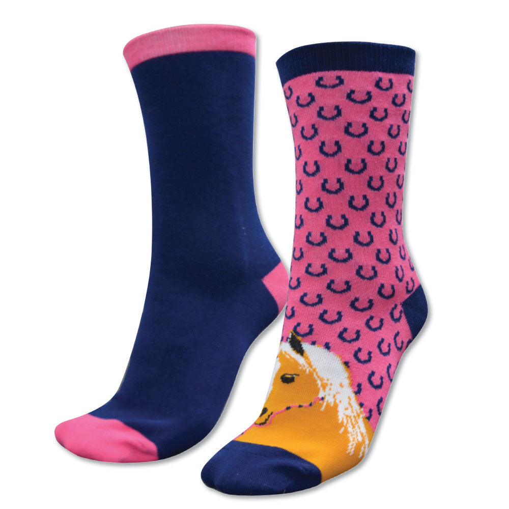 Thomas Cook Homestead Socks Twin Pack Navy/Hot Pink & Horses