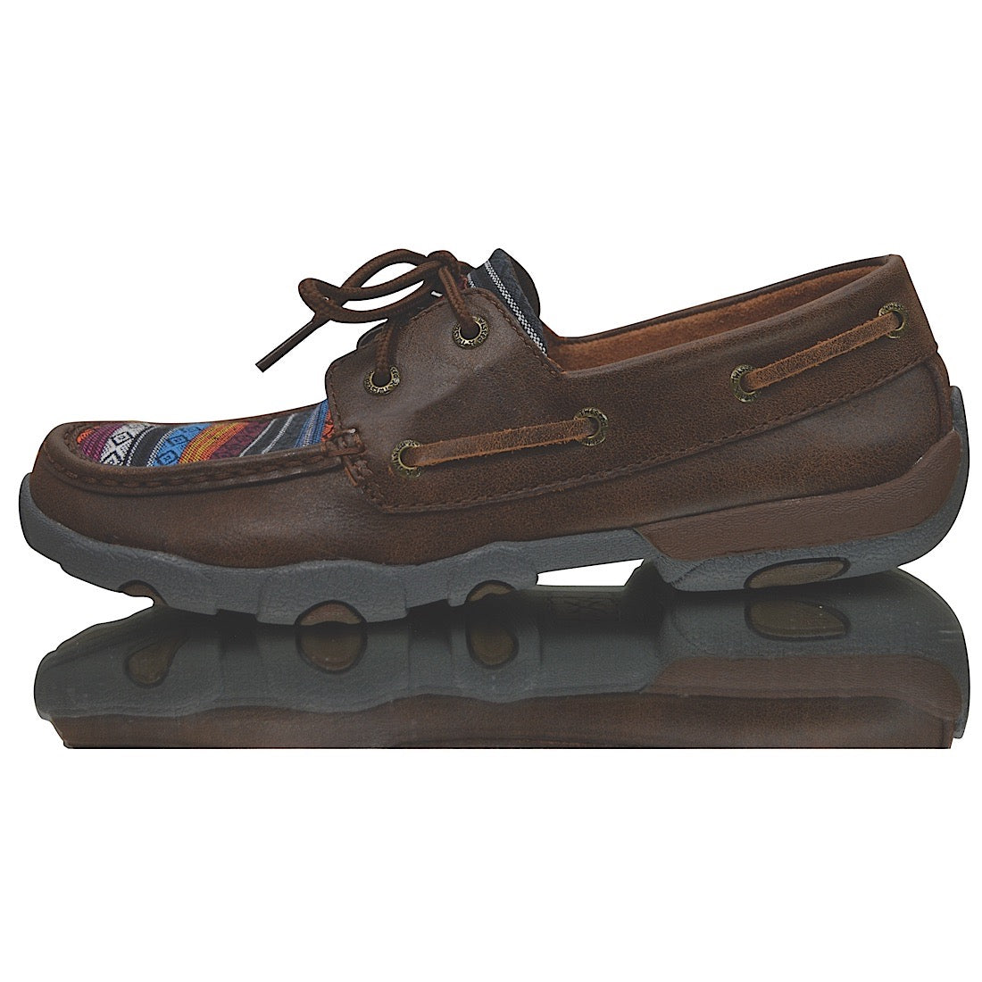 Twisted X Womens Casual Driving Moc Low Brown/Serape