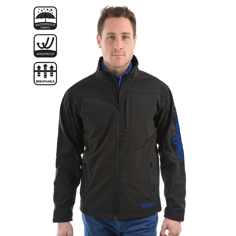 Wrangler Mens Logo Soft Shell Jacket Black