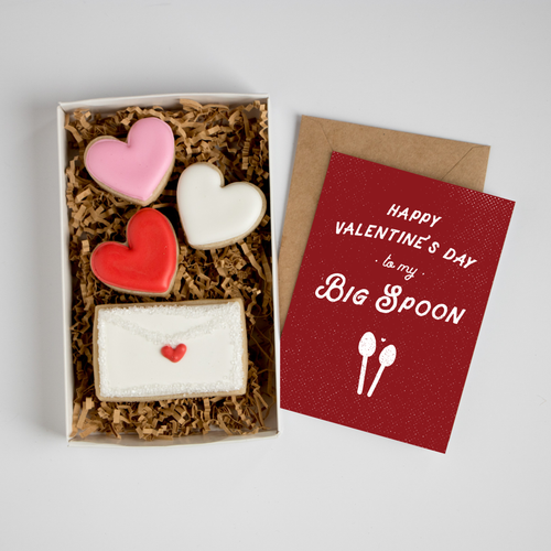 Happy Valentine's Day Big Spoon Card & Cookie Box Set
