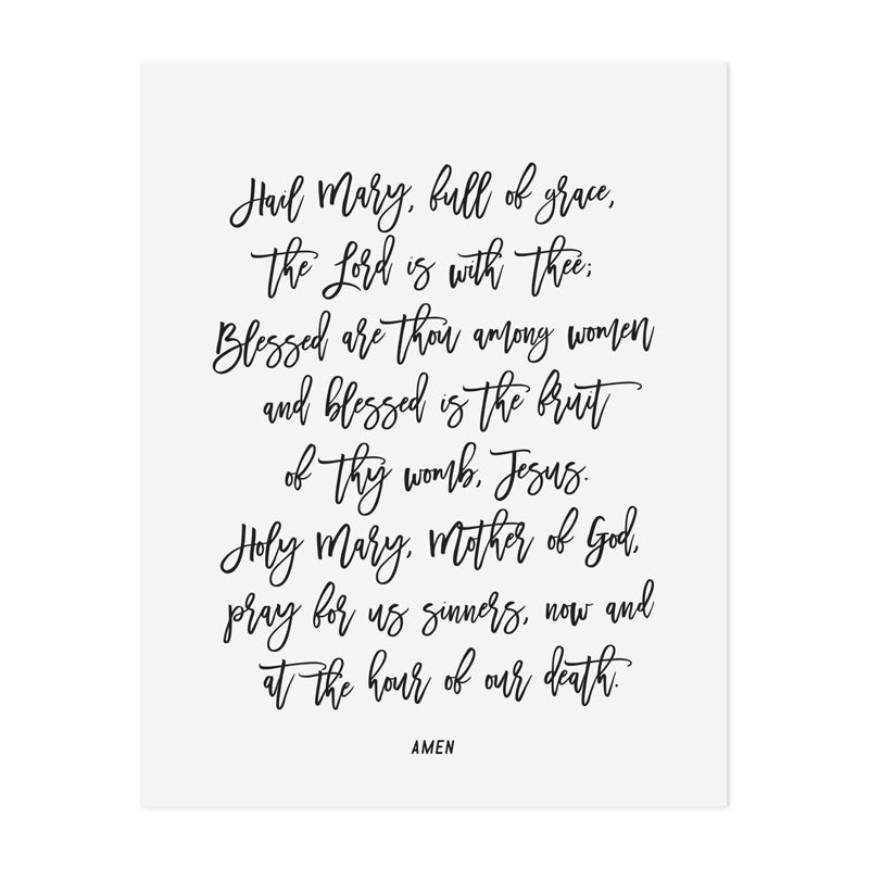 Hail Mary Prayer Art Print