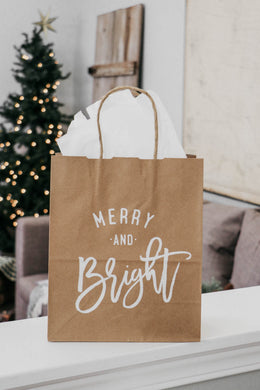 Merry and Bright Christmas Gift Bag - Set of 3