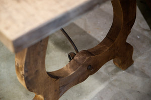 Natural Wood & Wrought Iron Swedish Dining Table